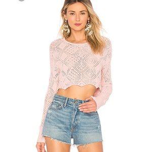 Ronny Kobo Avia Crochet Cropped Knit Top NWOT $248
